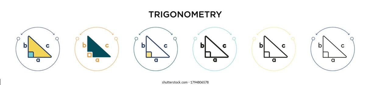 Trigonometry icon in filled, thin line, outline and stroke style. Vector illustration of two colored and black trigonometry vector icons designs can be used for mobile, ui, web