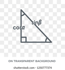 Trigonometry icon. Trendy flat vector Trigonometry icon on transparent background from E-learning and education collection. High quality filled Trigonometry symbol use for web and mobile