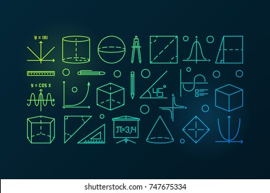 Trigonometry and mathematics colorful line illustration. Vector education or science outline modern banner