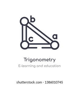 trigonometry outline icon. isolated line vector illustration from e-learning and education collection. editable thin stroke trigonometry icon on white background