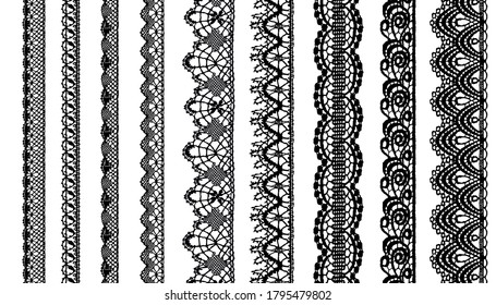 Trim Lace Ribbon for Decorating .Jacquard Mesh Lace Fabric.Vector seamless pattern.
