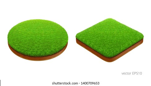Trimmed lawns. Vector 3d realistic image. Round and square natural garden locations. Plot of land with a green grass and a brown cut of soil. Set of detailed clipart. Isolated icons. Isometric view
