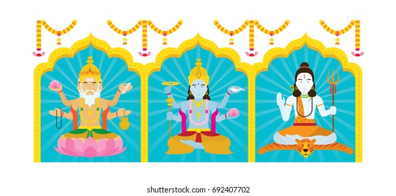 Trimurti, Brahma, Vishnu, Shiva, the Trinity of Supreme Divinity in Hinduism