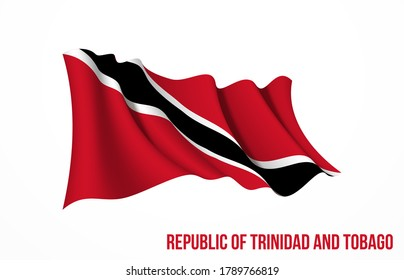 Trinidad and Tobago flag state symbol isolated on background national banner. Greeting card National Independence Day of Republic of Trinidad and Tobago. Illustration banner with realistic state flag.