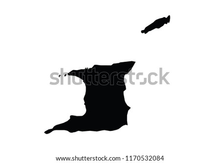 Trinidad Tobago Outline Map Country Shape Stock Vector (Royalty Free ...