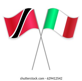 Trinidadian and Italian crossed flags. Trinidad and Tobago combined with Italy isolated on white. Language learning, international business or travel concept.
