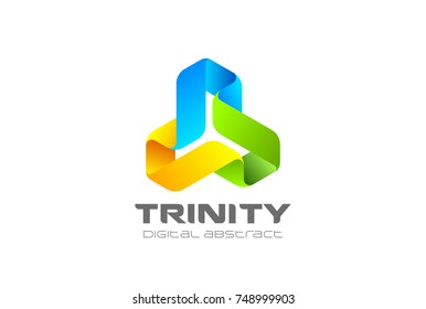 Trinity infinity Loop Logo design abstract vector template. Ribbon triangle infinite looped shape Logotype concept icon.