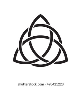 Trinity knot or Triquetra. Ancient Celtic symbol of eternity and Trinity - continuous line interweaving around itself three times