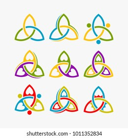 Trinity logo design inspiration, trinity love logo isolated on white background