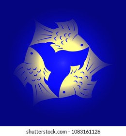 Trinity Sunday. The concept of a religious Christian holiday. Three fish, located symmetrically. Yellow and blue