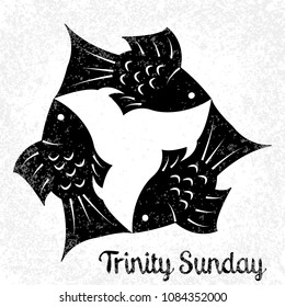 Trinity Sunday. The concept of a religious Christian holiday. Three fish, located symmetrically. Black and White