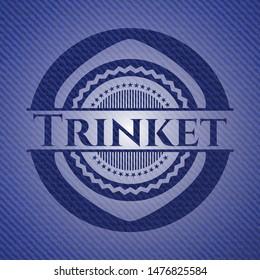 Trinket emblem with denim texture. Vector Illustration. Detailed.