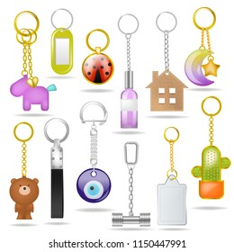 Trinket vector metal keychain with silver ring amd metallic keying souvenir illustration set of bibelot for key with house or bear symbol and pendant isolated on white background