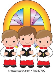 A trio of altar boys are holding bibles and standing in front of a stained glass window