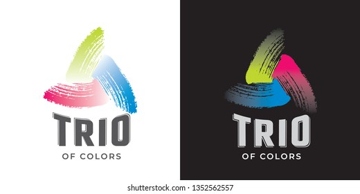 Trio of Colors Retro Style Logo Made with Lettering and Paint Brush Strokes Spiral Sign Set - Blue Green and Red Colors on Black and White Background - Vector Gradient Graphic Design