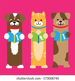 A trio of cute pets. A cat and two dogs. These can be used as bookmarks