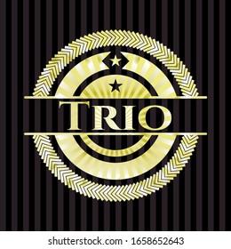 Trio golden badge. Vector Illustration. Detailed.