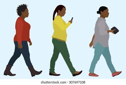 Trio of Overweight Black Women Walking