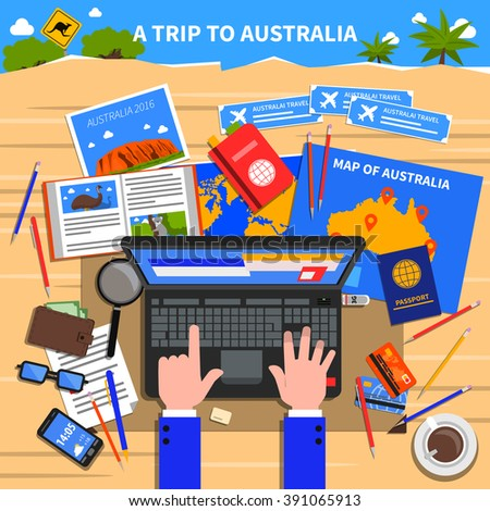 trip australia concept planning calculating expenses stock vector