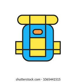Trip backpack vector outline illustration symbol object. Thin line icon style concept design