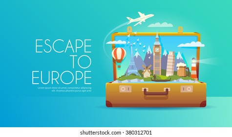 Trip to Europe. Travel to Europe. Vacation to Europe. Time to travel. Road trip. Tourism to Europe. Travel banner. Open suitcase with landmarks. Travelling illustration. Wanderlust. Flat style. EPS 10