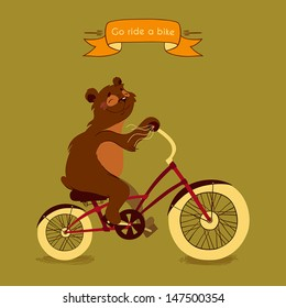 Trip. Happy bear rides his a red bike, illustration