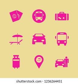 trip icon. trip vector icons set travelling luggage, suitcase, car and beach location