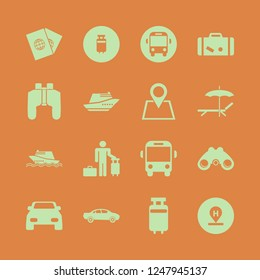 trip icon. trip vector icons set passports, suitcase, binoculars and guest