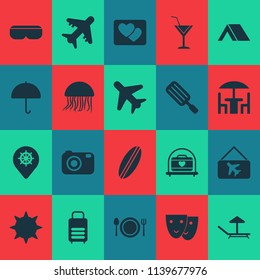 Trip icons set with vr spectacles, camera, suitcase and other airplane elements. Isolated vector illustration trip icons.