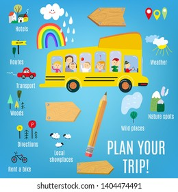 Trip plan elements set with icons and backgrounds. Vector graphic illustration