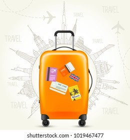 Trip round the world - travel poster, suitcase and world of landmarks