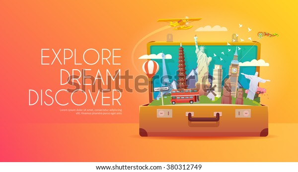 Trip to World. Travel to World. Vacation. Road trip. Tourism. Travel banner. Open suitcase with landmarks. Journey. Travelling illustration. Modern flat design. EPS 10. Colorful.