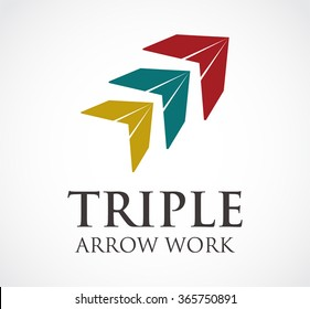 Triple arrow of flying cursor abstract vector and logo design or template pointer work business icon of company identity symbol concept