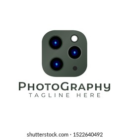 triple camera photography logo icon vector template