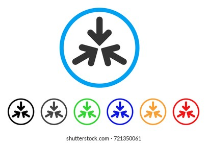 Triple Collide Arrows rounded icon. Style is a flat triple collide arrows grey symbol inside light blue circle with black, gray, green, blue, red, orange variants.