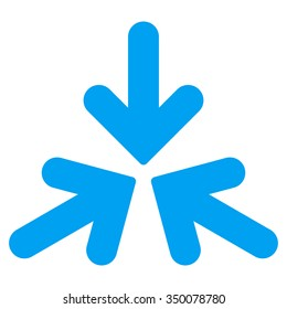 Triple Collide Arrows vector icon. Style is flat symbol, blue color, rounded angles, white background.