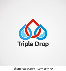 triple drop logo vector concept, icon, element, and template for company