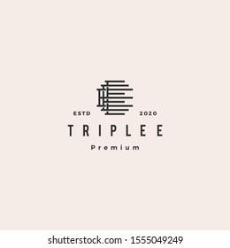 triple e monogram eee letter hipster lettermark logo retro vintage for branding or t shirt design
