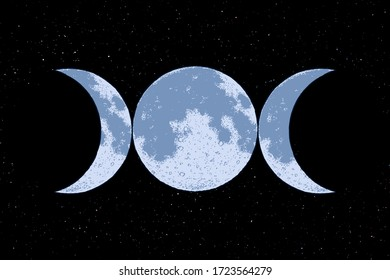 Triple goddess symbol on space background, three moons, wicca, witchcraft, magical symbol, vector illustration