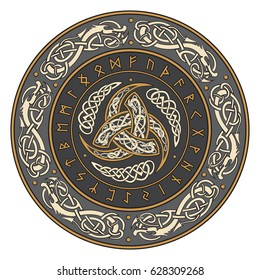 Triple Horn of Odin decorated with Scandinavic ornaments and runes, vector illustration