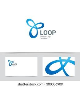 Triple Infinite Loop logo design template. Corporate branding identity