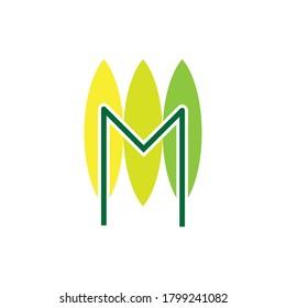 Triple Leaf with M letter logo design vector
