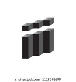 Triple i  letter logo 3D vector black and white