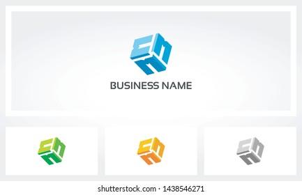 Triple Letter M Alphabet Cube Logo