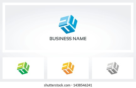 Triple Letter U Alphabet Cube Logo