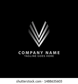 Triple Letter V Logo Template Isolated With Dark Background. Logo Vector Template.