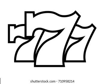 Triple Lucky Sevens black and white vector illustration