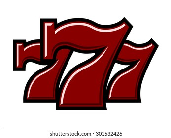 Triple Lucky Sevens red on white background vector illustration