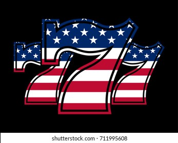Triple Lucky Stars and Strips Sevens vector illustration