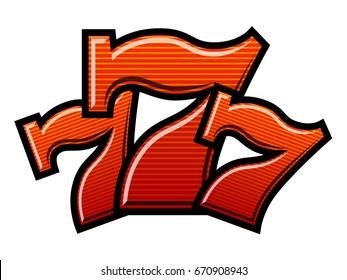 Triple Lucky striped Sevens vector illustration